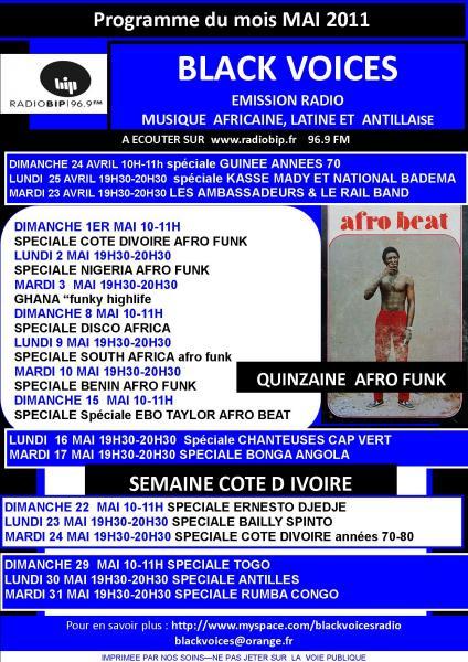Le programme de Black Voices pour mai 2011