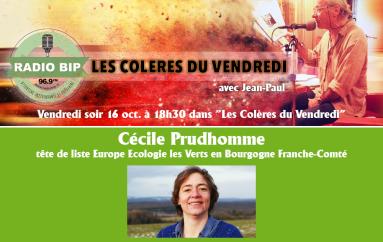 """Cécile Prudhomme invitée des """"Colères du Vendredi"""""""