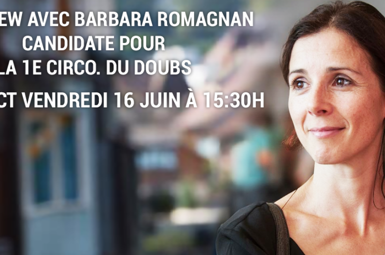 Vendredi 16 Juin: Interview en direct avec Barbara Romagnan