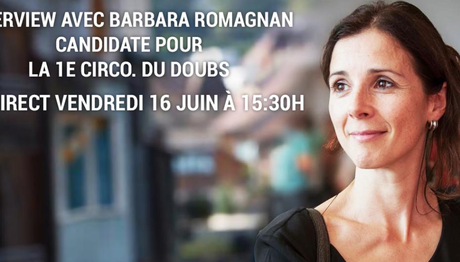 Vendredi 16 Juin: Interview en direct avec Barbara Romagnan