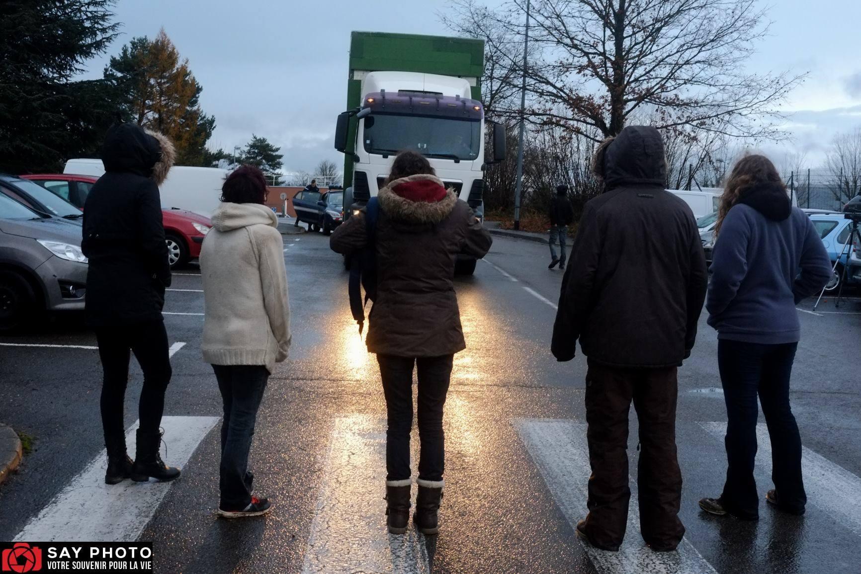 Les vaches maltraitées de Saint-Vit. Blocage des camions devant l'abattoir | Photo SayPhoto