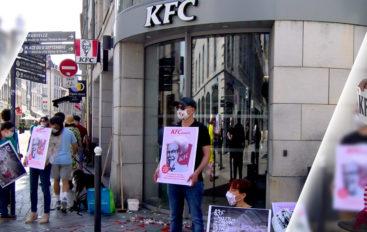 [Vidéo] Action contre la souffrance animale, devant le KFC de Besançon